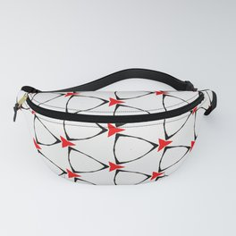 white black red geometrical pattern Fanny Pack