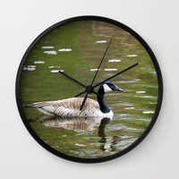 canada Wall Clocks featuring Canada Goose by Christina Rollo