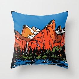 Bridal Veil Falls & Leaning Tower, Yosemite, California. Throw Pillow