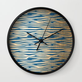 Zebra - Orange Sherbet Shimmer on Saltwater Taffy Teal Wall Clock
