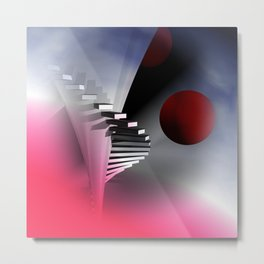 go upstairs -3- Metal Print