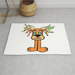 Spud the Christmas Reindeer with Candy Canes by Rosalie Rug