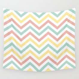 Chevron Coral, Turquoise  and Yellow - Spring Pattern Wall Tapestry