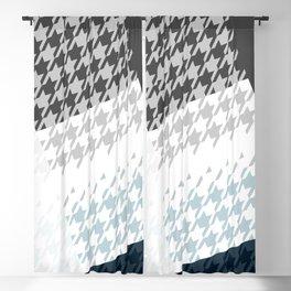 Modern Houndstooth Reinterpreted A – Navy / Gray / White Checked Pattern Blackout Curtain