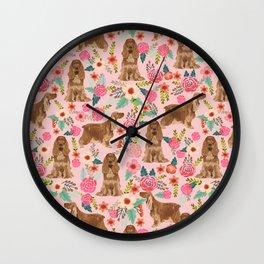 Cocker Spaniel dog breed florals pattern dog art pet portraits by pet friendly Wall Clock