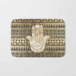 Faux Print Gold Hamsa Hand and Tribal Aztec Bath Mat