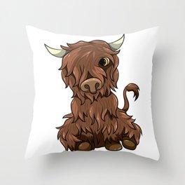 Cute Highland Cow Kawaii Cartoon Style Throw Pillow