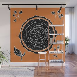 Autumnal Tree Trunk Cross Section with Wildflowers Design Wall Mural