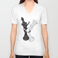 chess V-neck T-shirts featuring Chess dancers by GrandeDuc