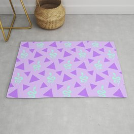Crawling snakes silhouettes and abstract triangle shapes. Stylish classy whimsical artistic lilac purple retro vintage geometric animal nature pattern. Reptiles. Geometry. Rug