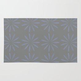 Blue Grey Floral Pattern Rug