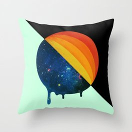 049 Cosmic retro ice cream roll melting Throw Pillow