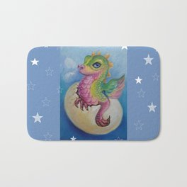 Baby Dragon on the Blue sky with Stars painting Fantasy Illustration Bath Mat