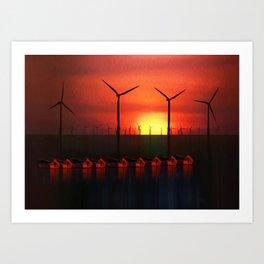 Boats at Sunset (Digital Art) Art Print