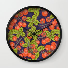 mysterious night in space garden with cherry tomatoes and basil Wall Clock