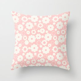 White flowers over pink Throw Pillow