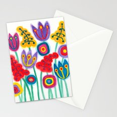 raw flower garden with tulips Stationery Cards