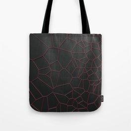 Red voronoi grate on black background Tote Bag