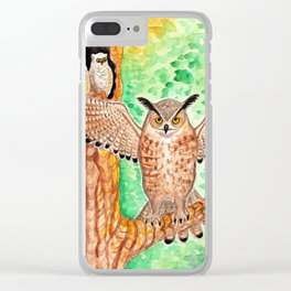 Horned Owl and Owlets in a Nest Clear iPhone Case