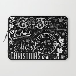 Black and White Christmas Typography Design Laptop Sleeve