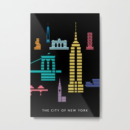 New York Skyline Empire State Poster Black Metal Print