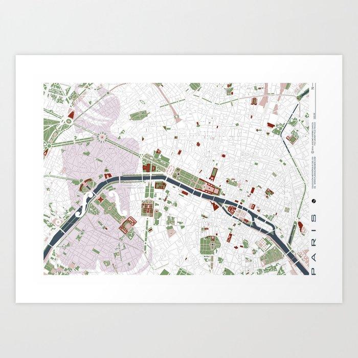 Paris city map minimal Art Print