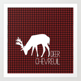 Lumberjack Plaid Deer Art Print