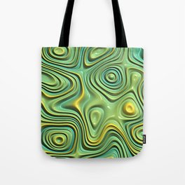 Yellow Lime Green Abstract 3D Swirl Waves Pattern Tote Bag