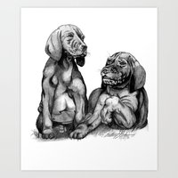 puppies Art Prints featuring Puppies by Tony Seeker