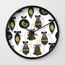 Black and Gold Modern Christmas Ornament Print Wall Clock