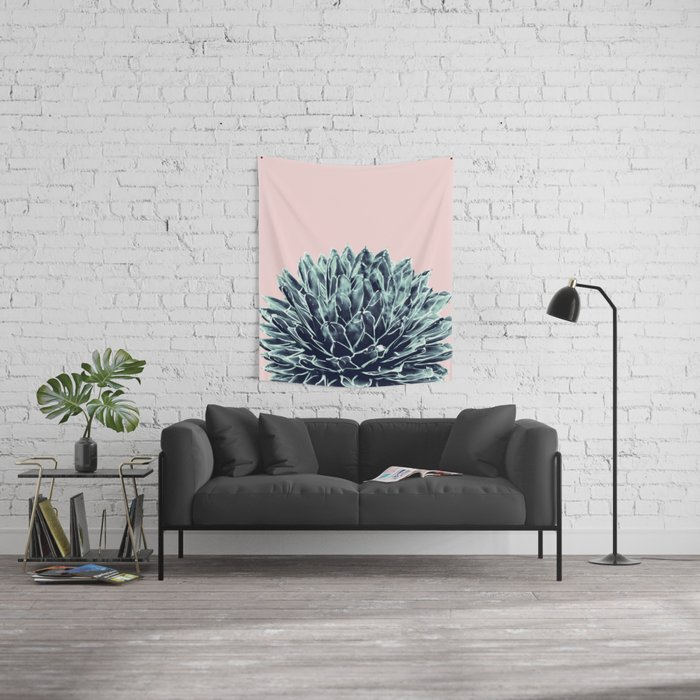 Blush Navy Blue Agave Chic #1 #succulent #decor #art #society6 Wall Tapestry