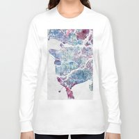 vancouver Long Sleeve T-shirts featuring Vancouver map by MapMapMaps.Watercolors