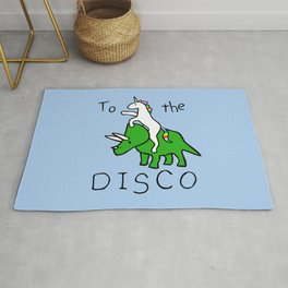 To The Disco (Unicorn Riding Triceratops) Rug