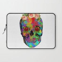 Flowers colorful skull watercolor Laptop Sleeve
