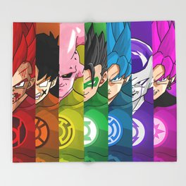 Lantern Corps x DBZ Characters Throw Blanket