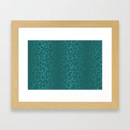 Aquamarine Shadowed Leopard Print Framed Art Print