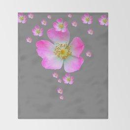 WILD PINK ROSE CASCADE ON GREY Throw Blanket
