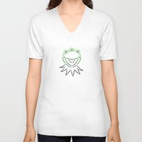 kermit V-neck T-shirts featuring Monsanto Kermit Says...(white) by Mutant Colony
