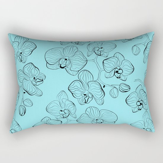 Retro . Orchid flowers on a heavenly blue background . Rectangular Pillow