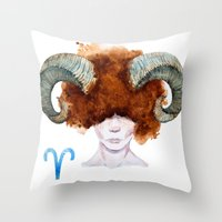 aries Throw Pillows featuring Aries by Aloke Design