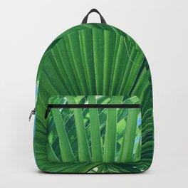Fan Palm Leaf Against Azur Blue Sky Backpack