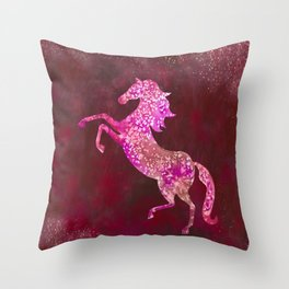 Fiery Red Flaming Celestial Horse Throw Pillow