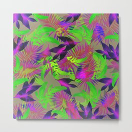 exotic green, pink and purple plants pattern Metal Print