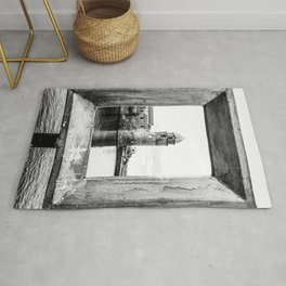 Picture Perfect | Black and White Collioure France Medieval Church Tower Scenic View Marina Rug