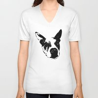 pit bull V-neck T-shirts featuring Pit Bull Boxer Mix by MIX INX