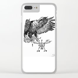 birds hate drones Clear iPhone Case