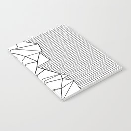 Abstraction Outline Grid on Side White Notebook
