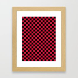 Black and Crimson Red Checkerboard Framed Art Print