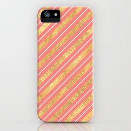 Modern elegant faux gold glitter coral geometric stripes iPhone Case