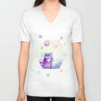 space cat V-neck T-shirts featuring Space Cat! by Colorful Simone